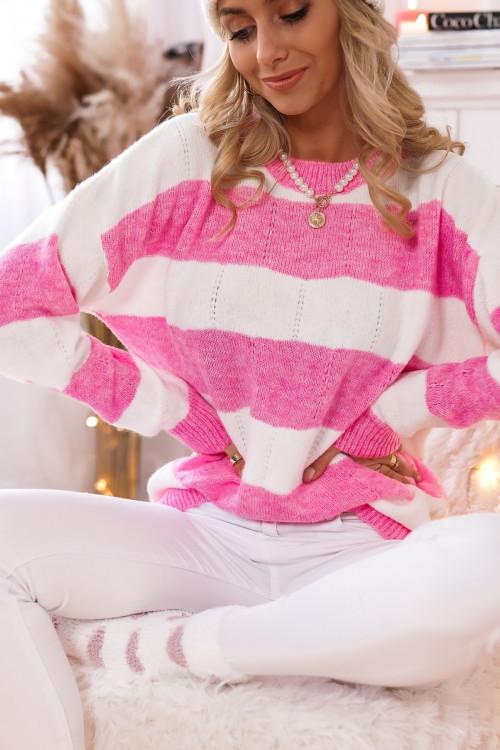 Sweter w pasy PORTOBELLO róż