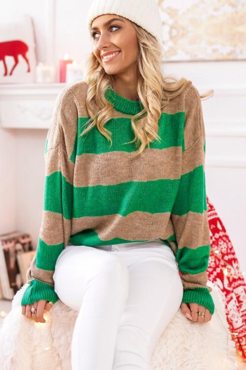 Sweter w pasy PORTOBELLO green