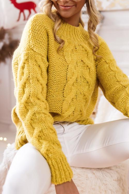 Sweter ALCAMO GUSTO warkocz yellow