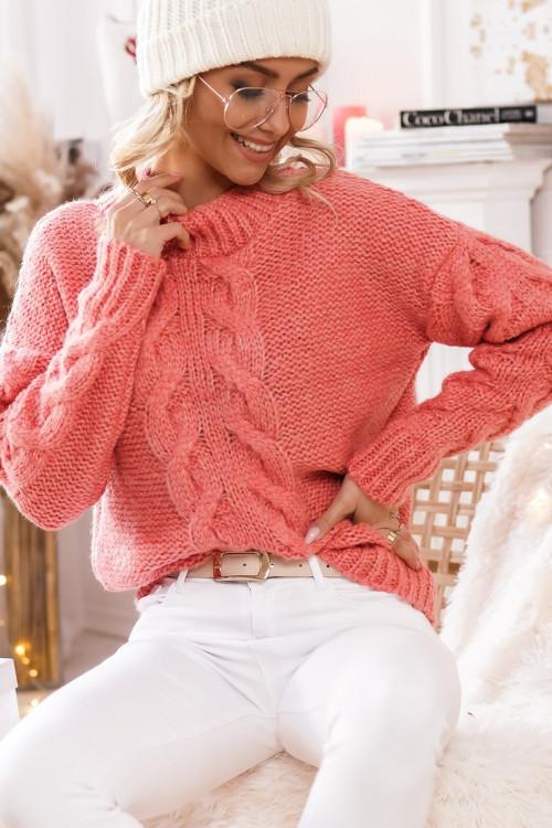 Sweter ALCAMO GUSTO warkocz orange
