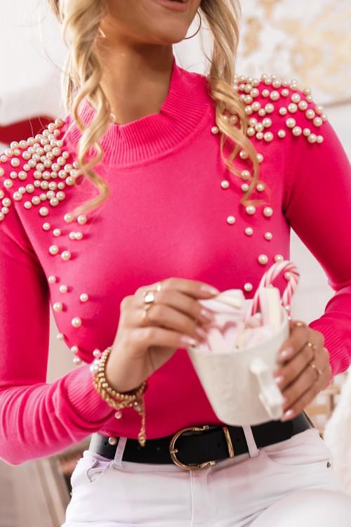 Sweter z perłami różowy GALICCIO