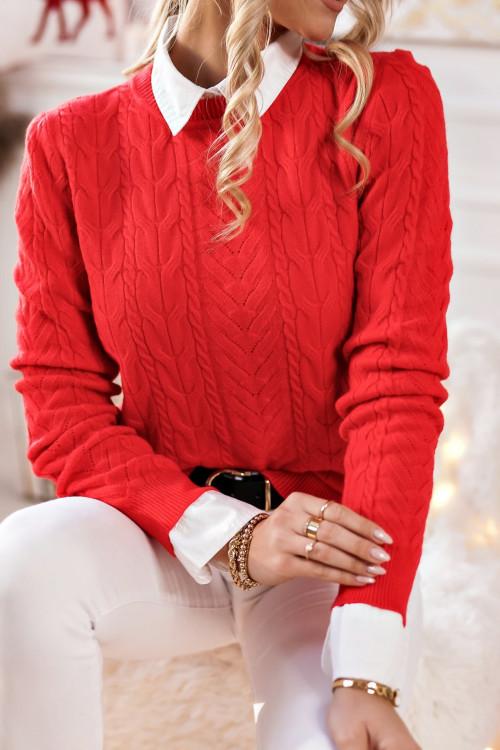 Sweter RALPHINO WARKOCZ czerwony