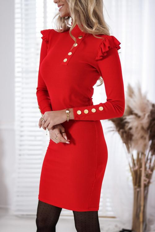 Sukienka BASIC PRĄŻEK BODYCON red