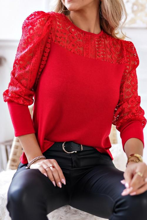 Bluzka Oh PRETTY z koronką RED
