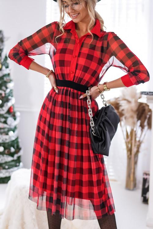 Sukienka w kratkę PRIMA DONNA red