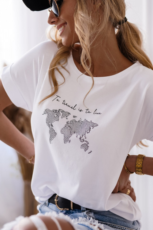 Tshirt TRAVEL DIAMONDS LIFESTYLE white