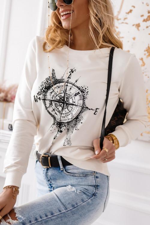 Bluza bawełniana TRAVEL WORLD white
