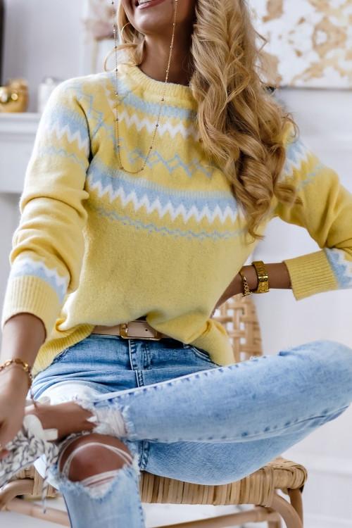 Sweter SPRING VIBES powder yellow