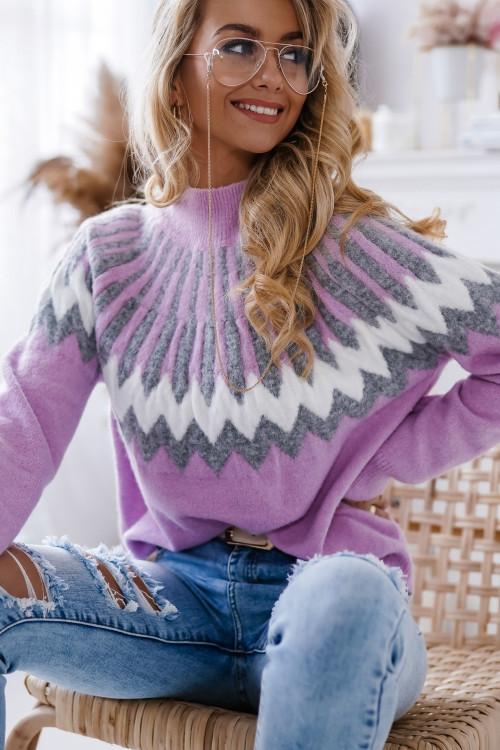 Sweter CAMILLA ZIGZAC bestseller FIOLET