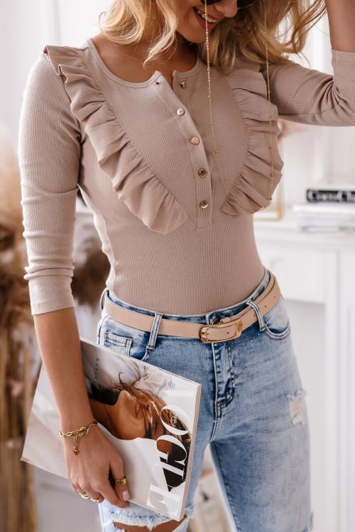 Bluza CELINNE MOTYLEK prążek beż
