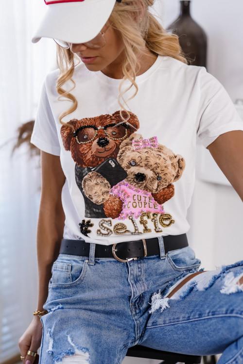 Tshirt BEAR selfie white