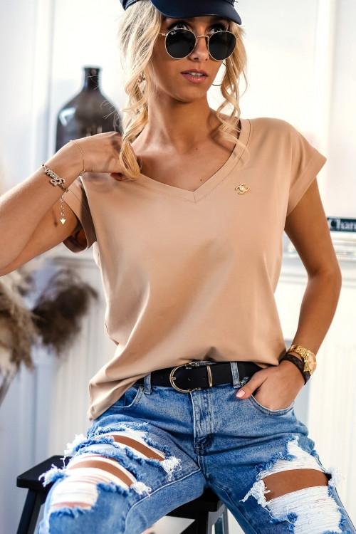 Tshirt BASIC V-NECK z przypinką NUDE BEIGE