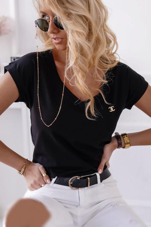 Tshirt BASIC V-NECK z przypinką BLACK