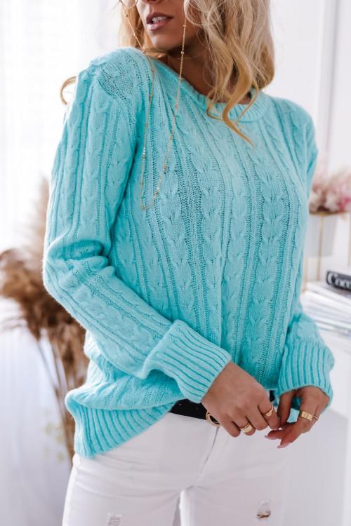 Sweter SALAMANCA SPRING warkocz mint