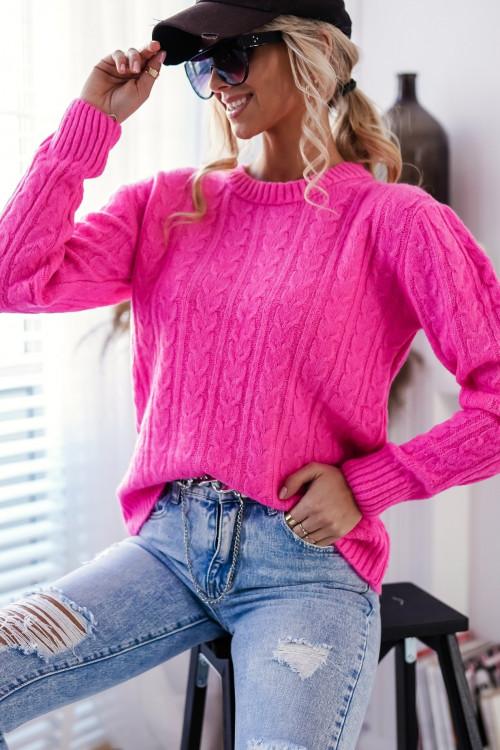 Sweter SALAMANCA SPRING warkocz pink