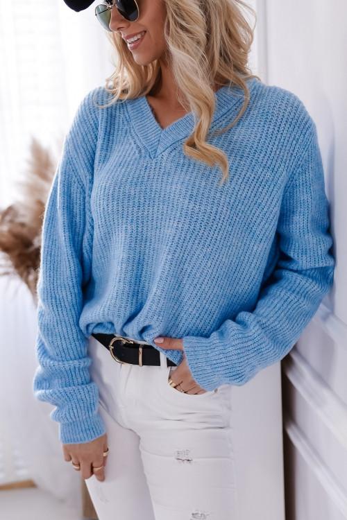 Sweter VICTORIA V-neck baby blue