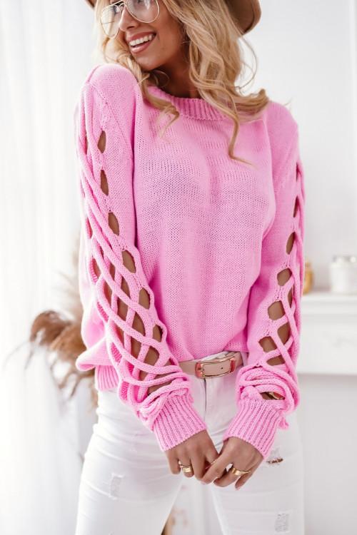 Sweter SPRING PARIS cukierkowy róż