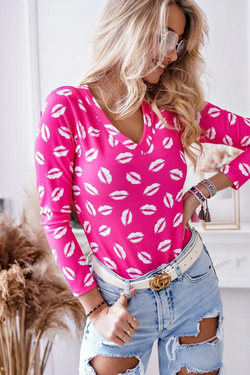 Bluzka V-NECK BODY LIPS neon pink