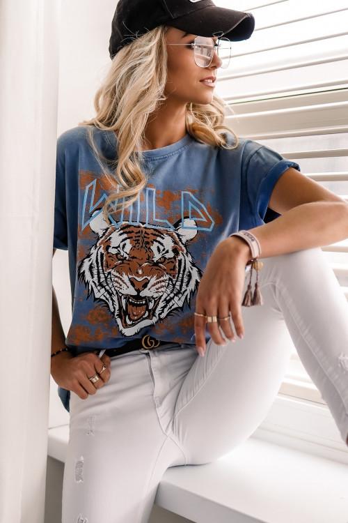 Tshirt WILD TIGER Vinatge dekatyzowany niebieski
