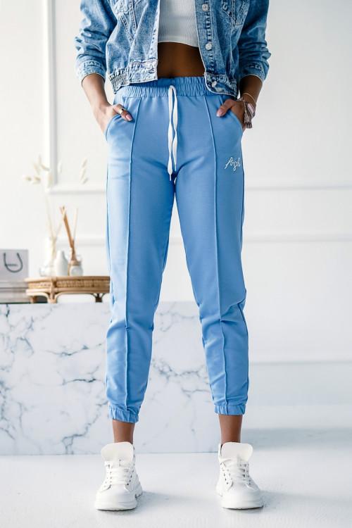 Spodnie BAWEŁNIANE PUMPY z przeszyciem ANGEL BABY BLUE