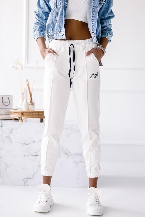 Spodnie BAWEŁNIANE PUMPY z przeszyciem ANGEL WHITE