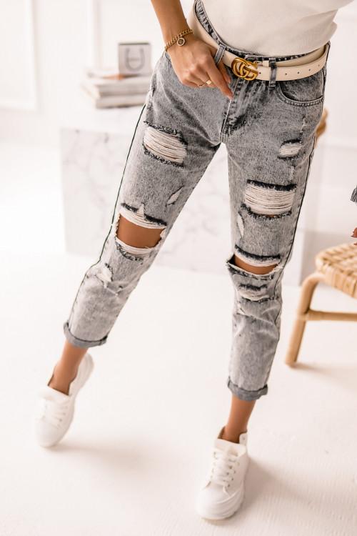 Spodnie MOM FIT DESTROYED washed gray