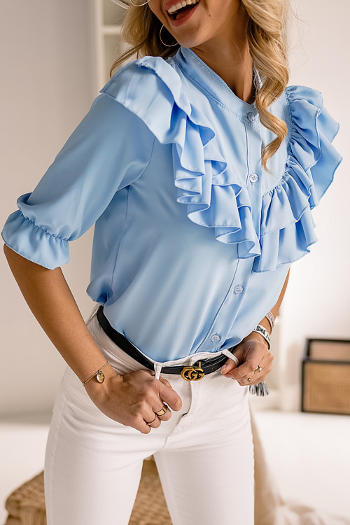 Koszula elegance VICENZA z falbankami błękitna BABY BLUE