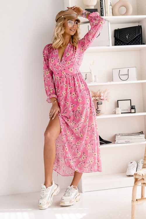 Sukienka MAXI SPRING FLOWERS pink