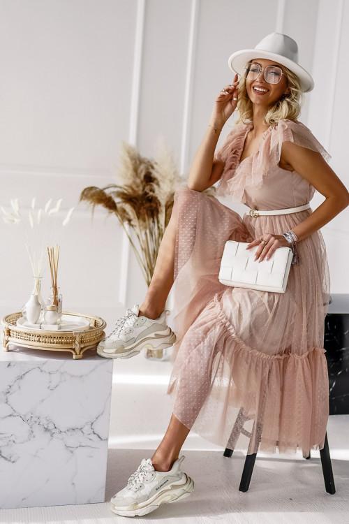 Sukienka TIULOWA ELEGANCE beż
