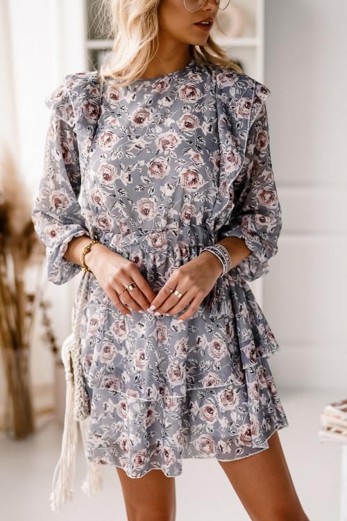 Sukienka DORETTO FLOWERS pudrowa mięta