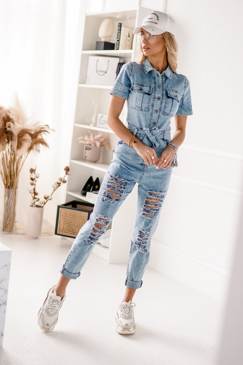 Kombinezon JEANSOWY z przetarciami VINATGE BLUE DENIM jeans