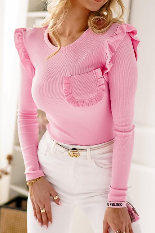 Bluzka MORETTO POCKET prążek różowa