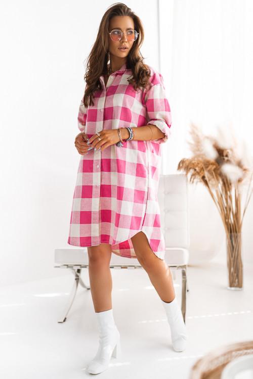 Sukienka koszulowa w kratę LIFESTYLE street look