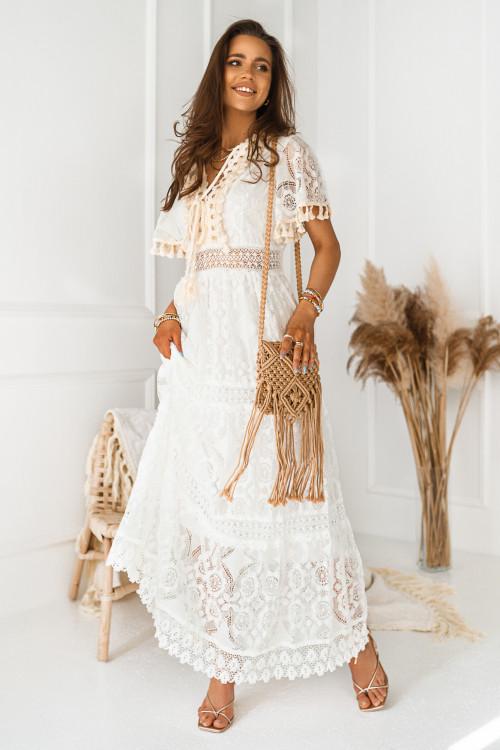 Sukienka MAXI BOHO CEIT koronki white