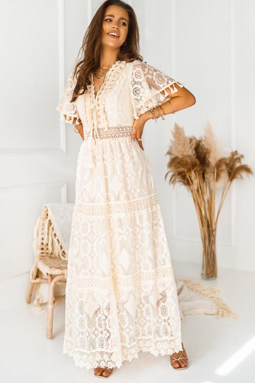Sukienka MAXI BOHO CEIT koronki NUDE BEIGE