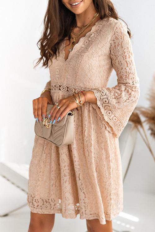 Sukienka KORONKOWA LILI ROSSE nude beige