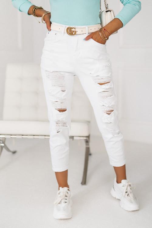 Spodnie jeansowe białe BOYFRIEND RIPPED