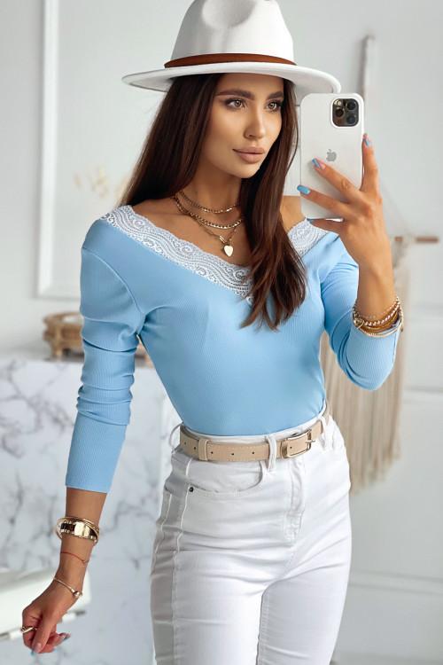 Bluzka PRĄŻEK z koronkową wstawką BLUE