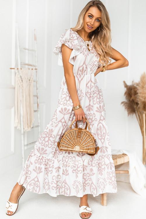 Sukienka KENDLY LINE ART nude beige