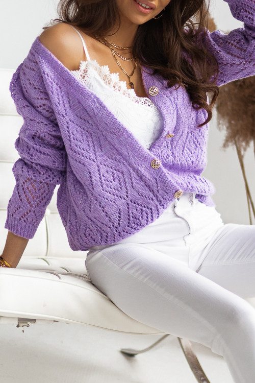 Sweter rozpinany Kardigan SETTO fiolet