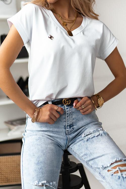 Tshirt BASIC V-NECK z przypinką white