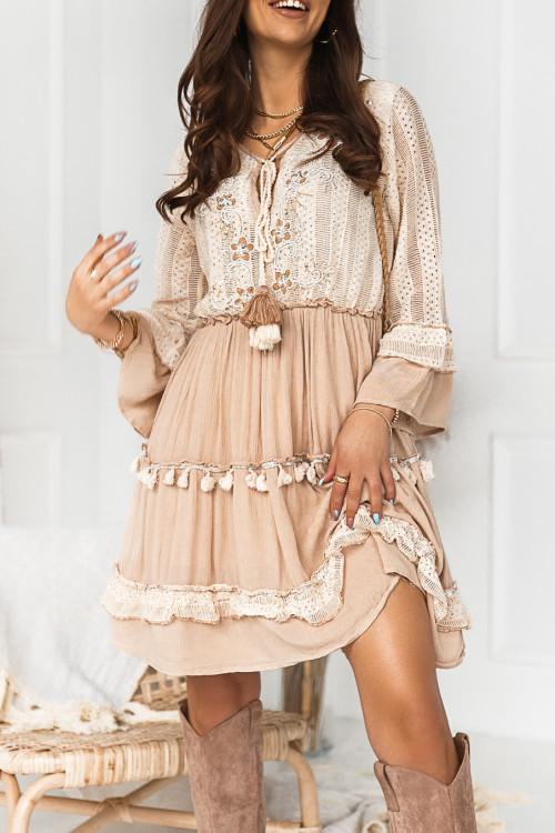 Sukienka PREMIUM BOHO CARMEN PARIS nude beige