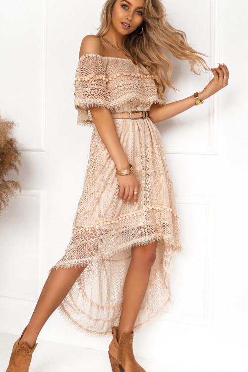 Sukienka FRANKIE SPAIN boho koronki BEŻ