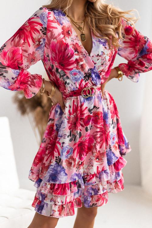 Sukienka MORENO FLOWERS z paskiem