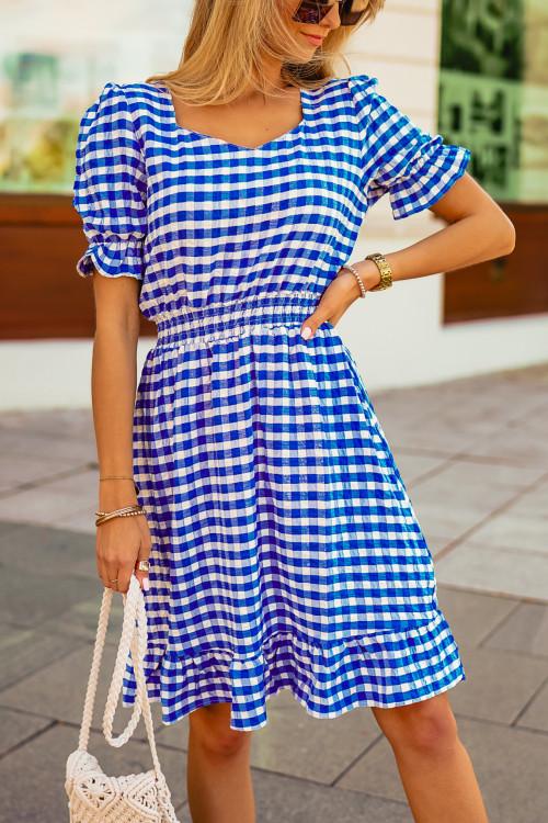 Sukienka TRICCO w kratkę BLUE