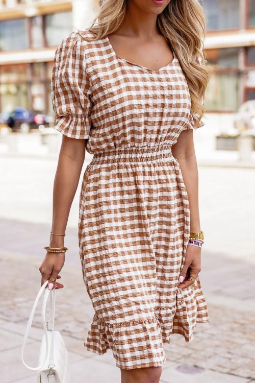 Sukienka TRICCO w kratkę NUDE BEIGE