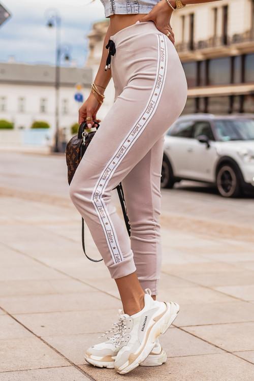 Spodnie WELUROWE JADORE Lifestyle NUDE BEIGE