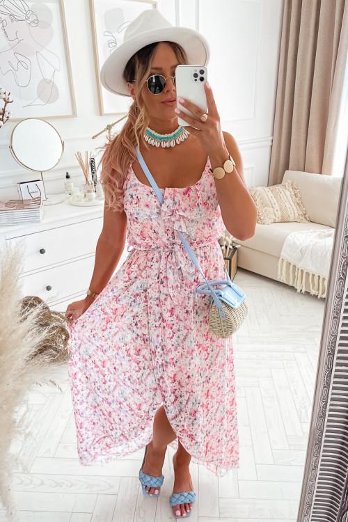 Sukienka asymetryczna PIAZZA pudrowa