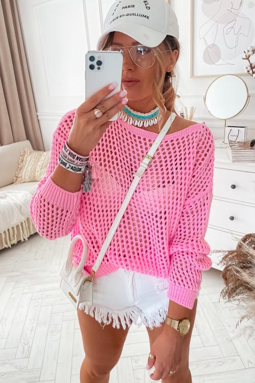 Sweterek PORTOBELLO AŻURKOWY candy pink