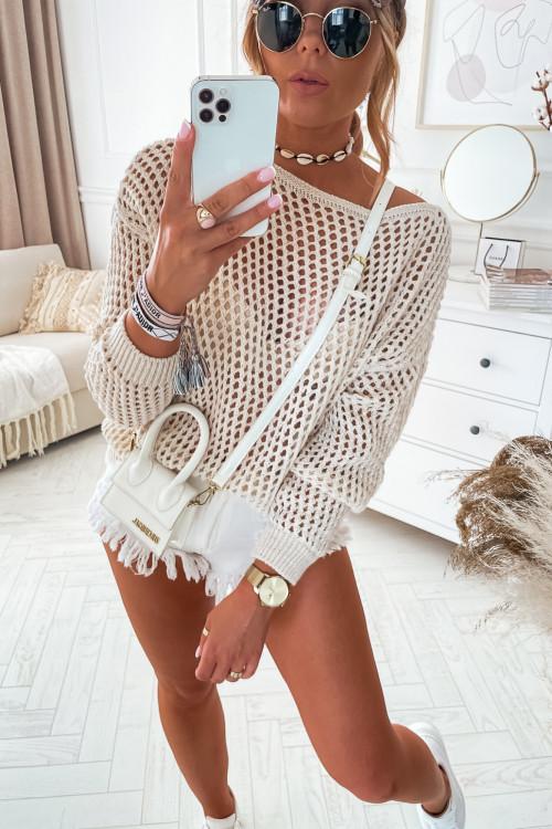 Sweterek PORTOBELLO AŻURKOWY nude beige